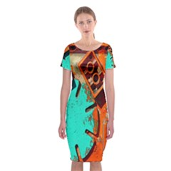 Sunburst Lego Graffiti Classic Short Sleeve Midi Dress