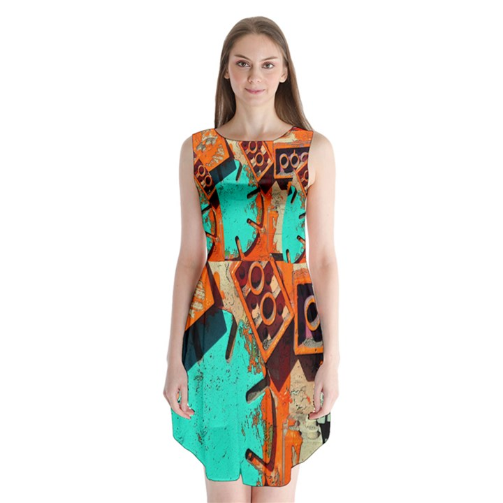 Sunburst Lego Graffiti Sleeveless Chiffon Dress