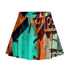 Sunburst Lego Graffiti Mini Flare Skirt