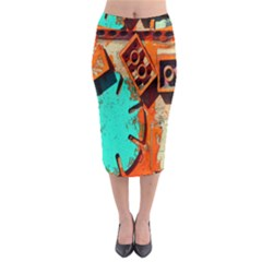 Sunburst Lego Graffiti Midi Pencil Skirt