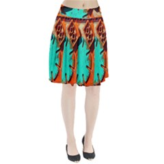 Sunburst Lego Graffiti Pleated Skirt