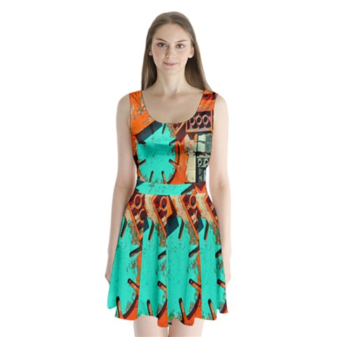 Sunburst Lego Graffiti Split Back Mini Dress