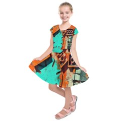 Sunburst Lego Graffiti Kids  Short Sleeve Dress