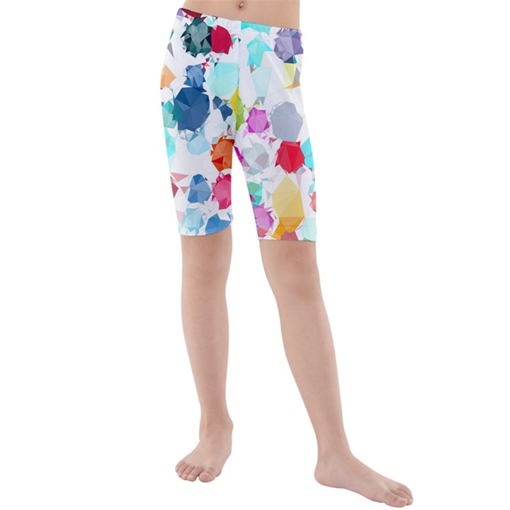 Colorful Diamonds Dream Kids  Mid Length Swim Shorts