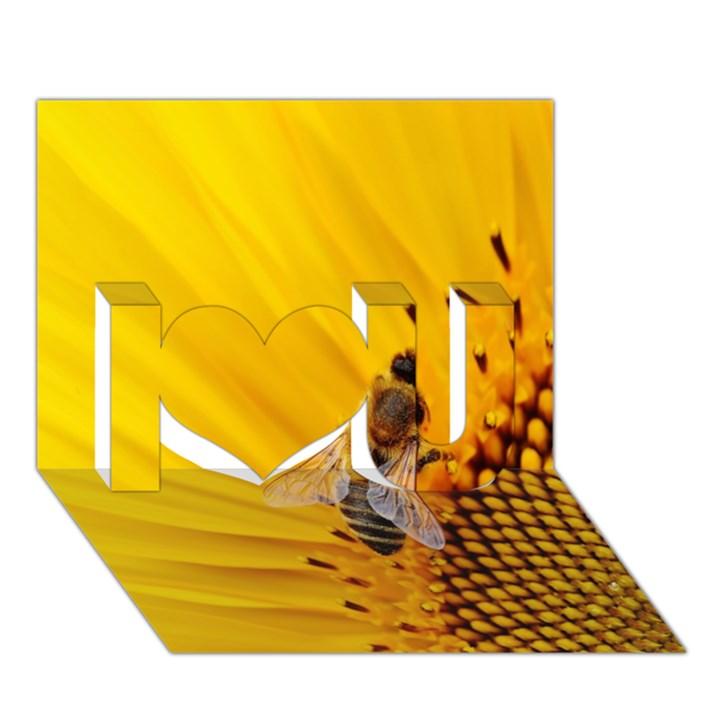 Sun Flower Bees Summer Garden I Love You 3D Greeting Card (7x5)