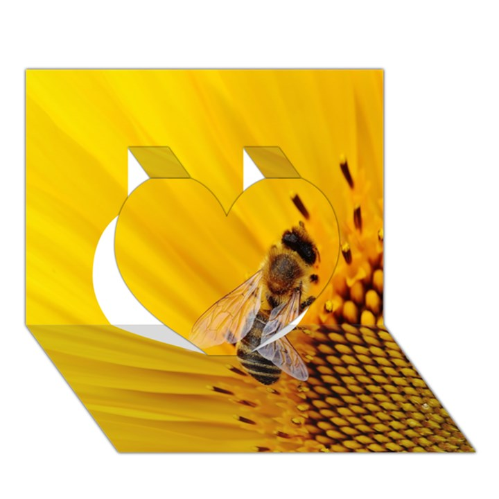 Sun Flower Bees Summer Garden Heart 3D Greeting Card (7x5)