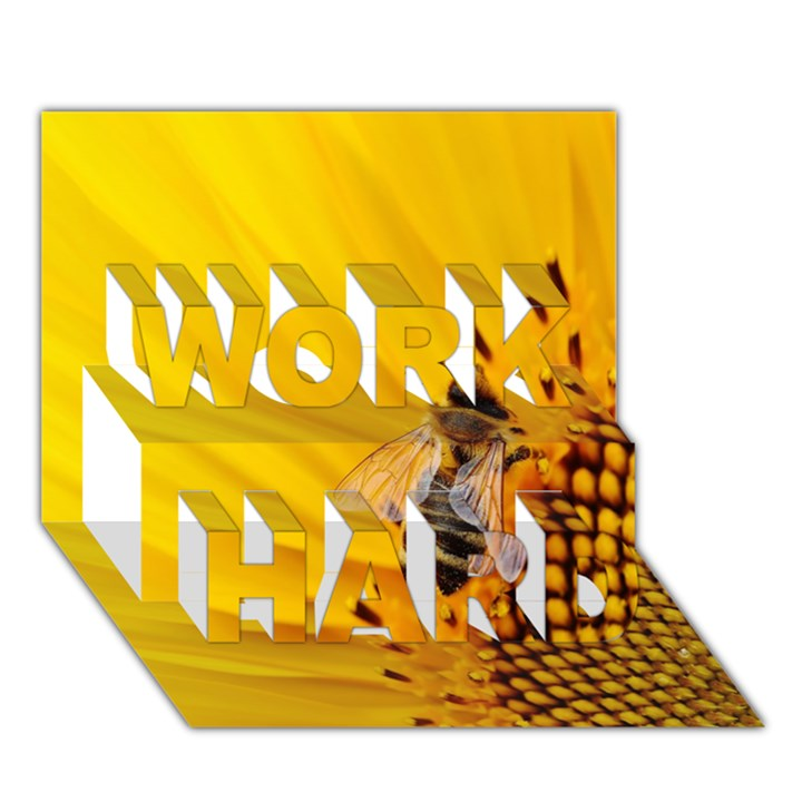Sun Flower Bees Summer Garden WORK HARD 3D Greeting Card (7x5)
