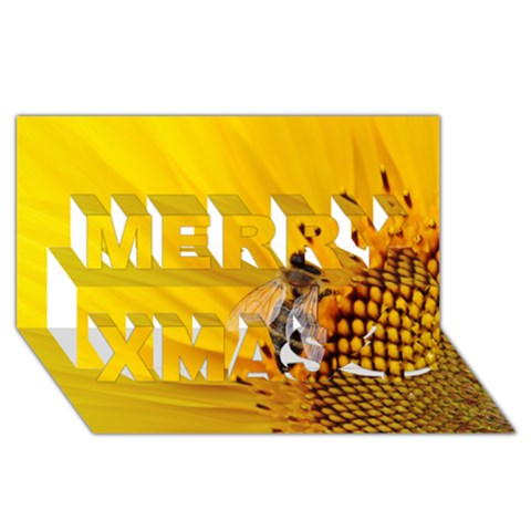 Sun Flower Bees Summer Garden Merry Xmas 3D Greeting Card (8x4)