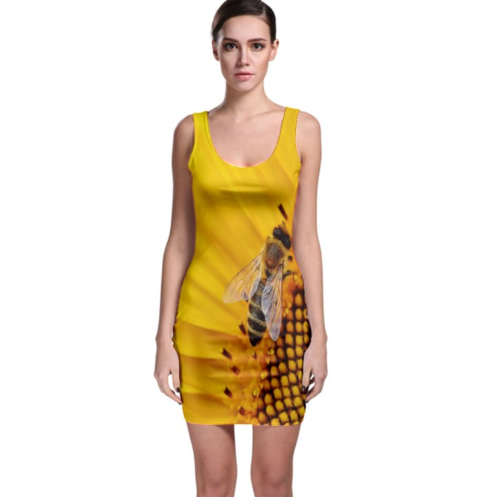 Sun Flower Bees Summer Garden Sleeveless Bodycon Dress