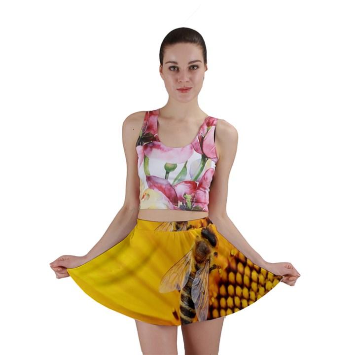 Sun Flower Bees Summer Garden Mini Skirt