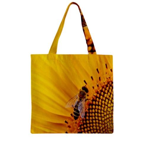 Sun Flower Bees Summer Garden Zipper Grocery Tote Bag