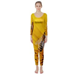 Sun Flower Bees Summer Garden Long Sleeve Catsuit