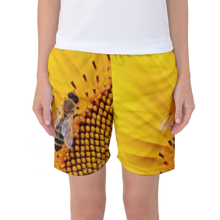Sun Flower Bees Summer Garden Women s Basketball Shorts
