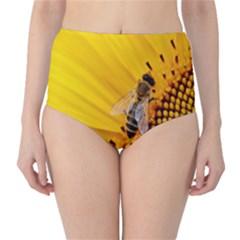 Sun Flower Bees Summer Garden High-Waist Bikini Bottoms