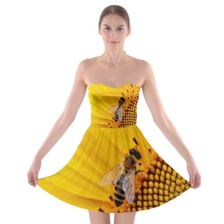 Sun Flower Bees Summer Garden Strapless Bra Top Dress