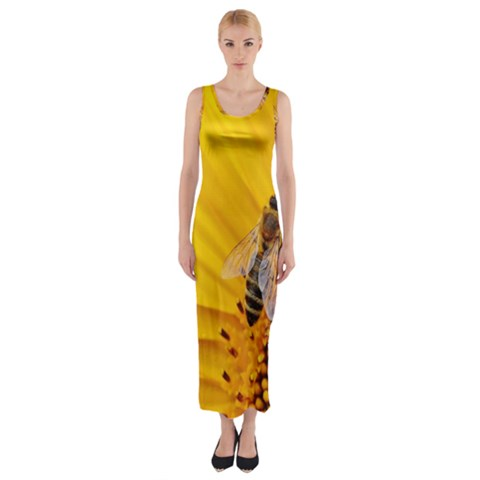 Sun Flower Bees Summer Garden Fitted Maxi Dress