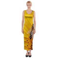 Sun Flower Bees Summer Garden Fitted Maxi Dress