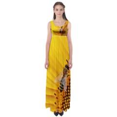Sun Flower Bees Summer Garden Empire Waist Maxi Dress