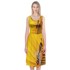 Sun Flower Bees Summer Garden Midi Sleeveless Dress