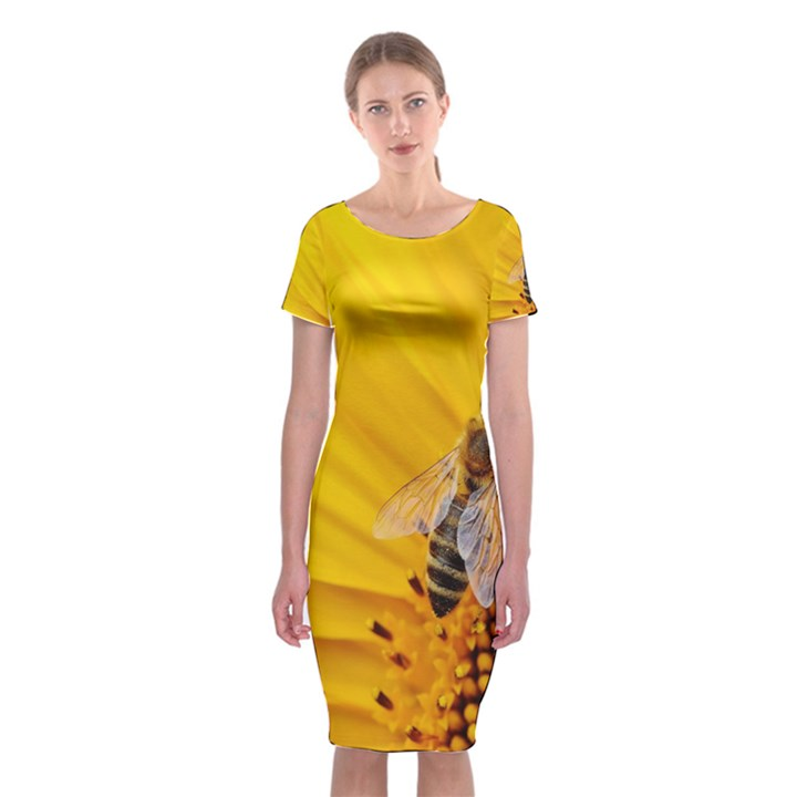 Sun Flower Bees Summer Garden Classic Short Sleeve Midi Dress