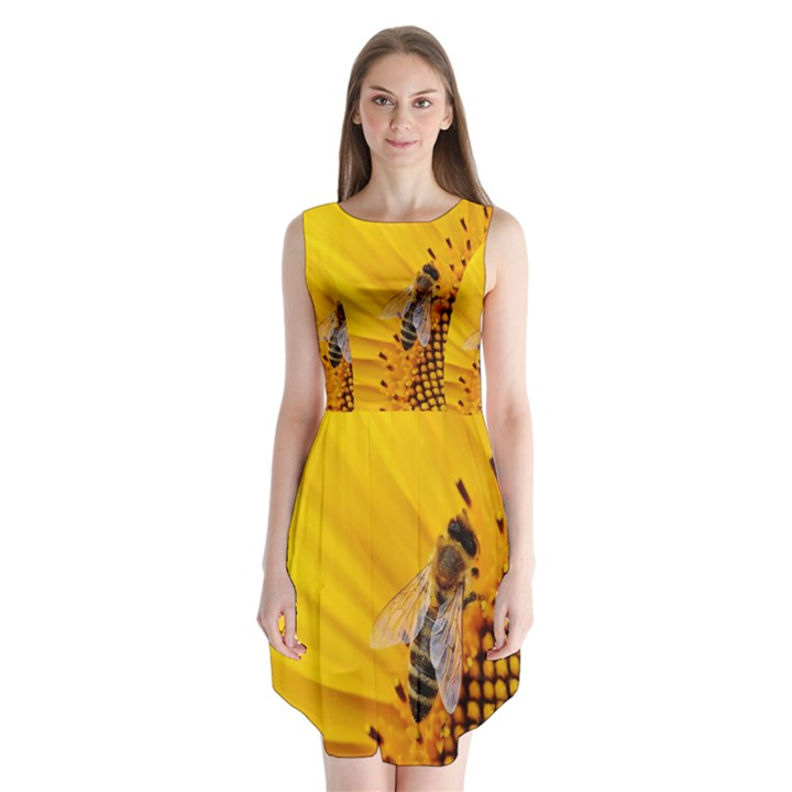 Sun Flower Bees Summer Garden Sleeveless Chiffon Dress