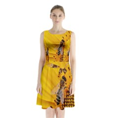 Sun Flower Bees Summer Garden Sleeveless Chiffon Waist Tie Dress