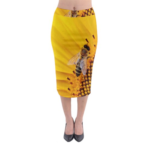 Sun Flower Bees Summer Garden Midi Pencil Skirt