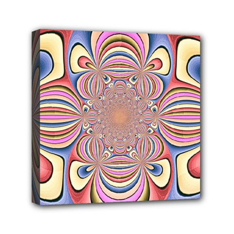 Pastel Shades Ornamental Flower Mini Canvas 6  x 6