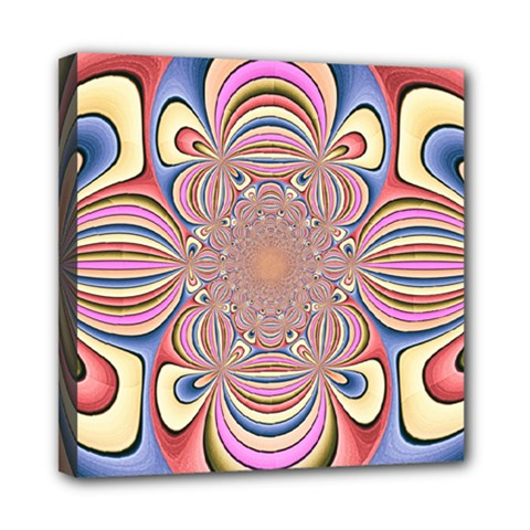 Pastel Shades Ornamental Flower Mini Canvas 8  x 8
