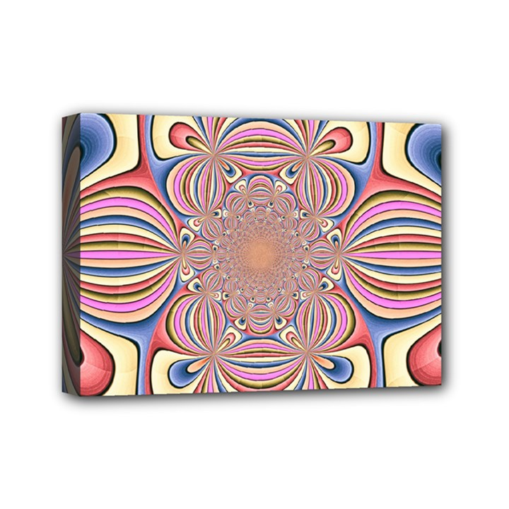 Pastel Shades Ornamental Flower Mini Canvas 7  x 5