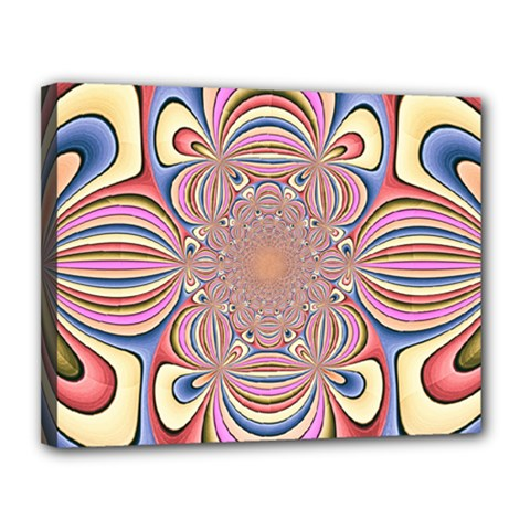 Pastel Shades Ornamental Flower Canvas 14  x 11