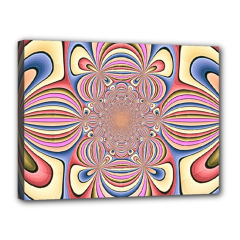 Pastel Shades Ornamental Flower Canvas 16  x 12