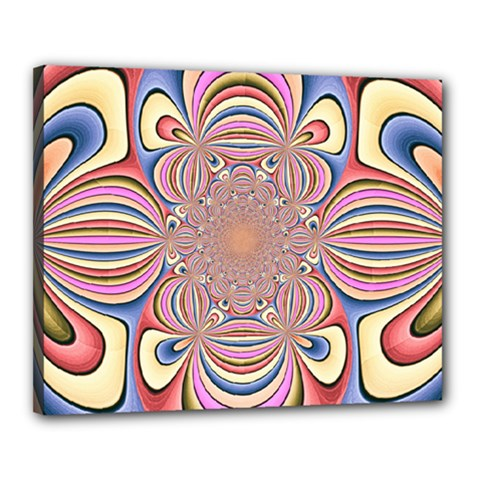 Pastel Shades Ornamental Flower Canvas 20  X 16