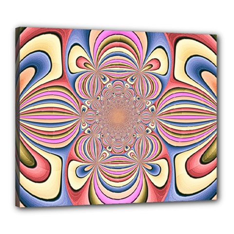 Pastel Shades Ornamental Flower Canvas 24  X 20