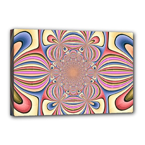 Pastel Shades Ornamental Flower Canvas 18  x 12