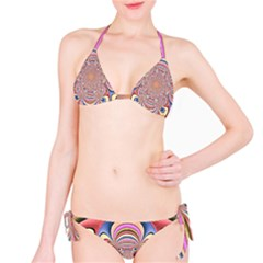 Pastel Shades Ornamental Flower Bikini Set