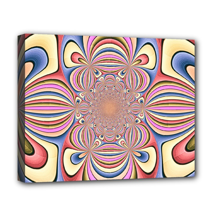 Pastel Shades Ornamental Flower Deluxe Canvas 20  x 16