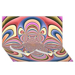 Pastel Shades Ornamental Flower Twin Heart Bottom 3d Greeting Card (8x4)