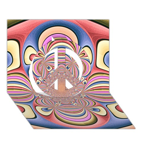 Pastel Shades Ornamental Flower Peace Sign 3D Greeting Card (7x5)