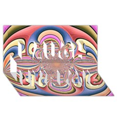 Pastel Shades Ornamental Flower Laugh Live Love 3D Greeting Card (8x4)