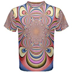 Pastel Shades Ornamental Flower Men s Cotton Tee