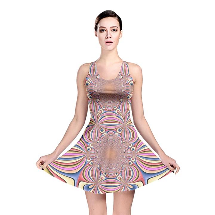 Pastel Shades Ornamental Flower Reversible Skater Dress