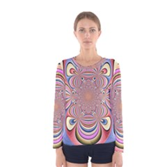 Pastel Shades Ornamental Flower Women s Long Sleeve Tee