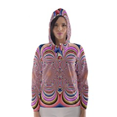 Pastel Shades Ornamental Flower Hooded Wind Breaker (Women)