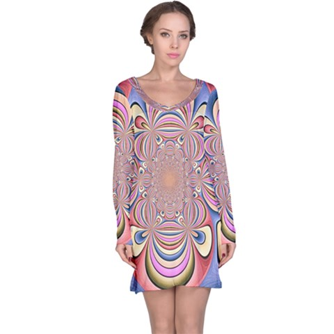 Pastel Shades Ornamental Flower Long Sleeve Nightdress