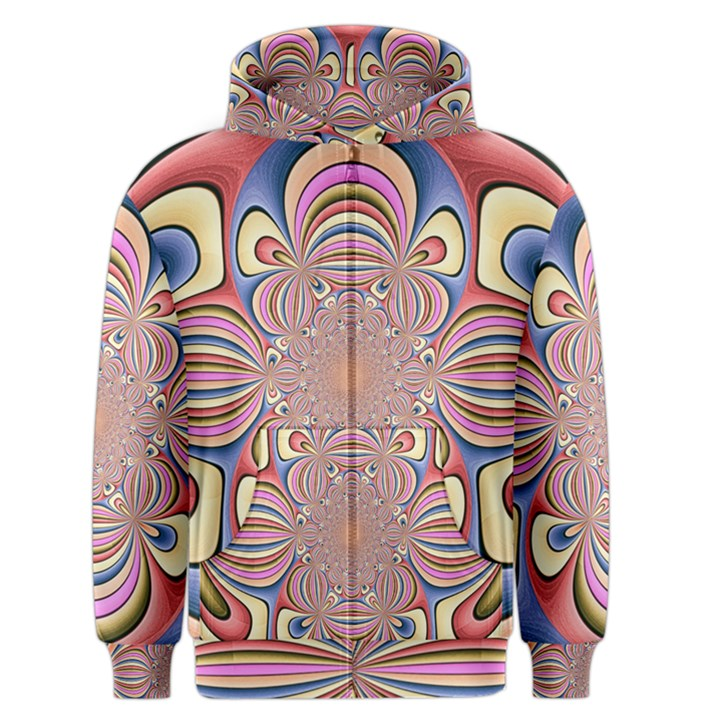 Pastel Shades Ornamental Flower Men s Zipper Hoodie