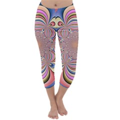 Pastel Shades Ornamental Flower Capri Winter Leggings