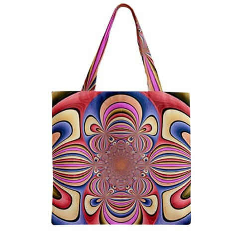 Pastel Shades Ornamental Flower Zipper Grocery Tote Bag