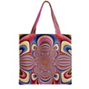 Pastel Shades Ornamental Flower Zipper Grocery Tote Bag View1