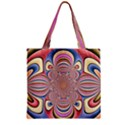 Pastel Shades Ornamental Flower Zipper Grocery Tote Bag View2